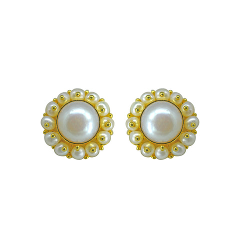 Gold Plain Button Pearl studs-GTWS213