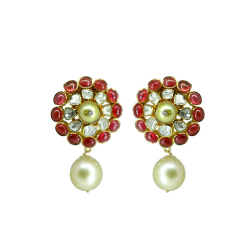 Gold Ruby and Pearl Earrings -GTP0325