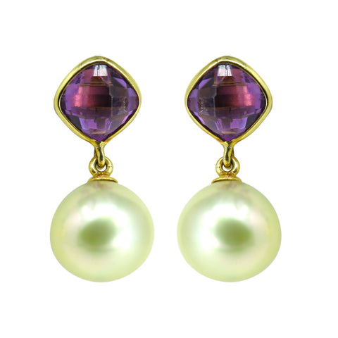 Gold Top with Pearl and Amethyst Earring -GTSS253