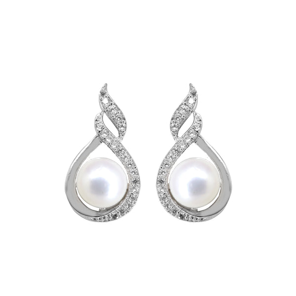 Pearl stud with CZ Stone and pearl - T0786