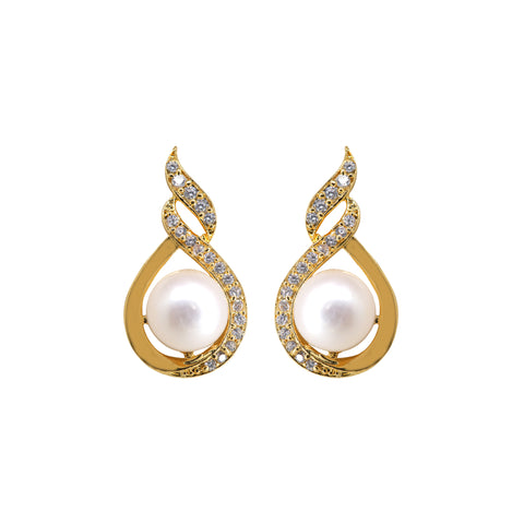Pearl Stud with CZ and pearl-T0785