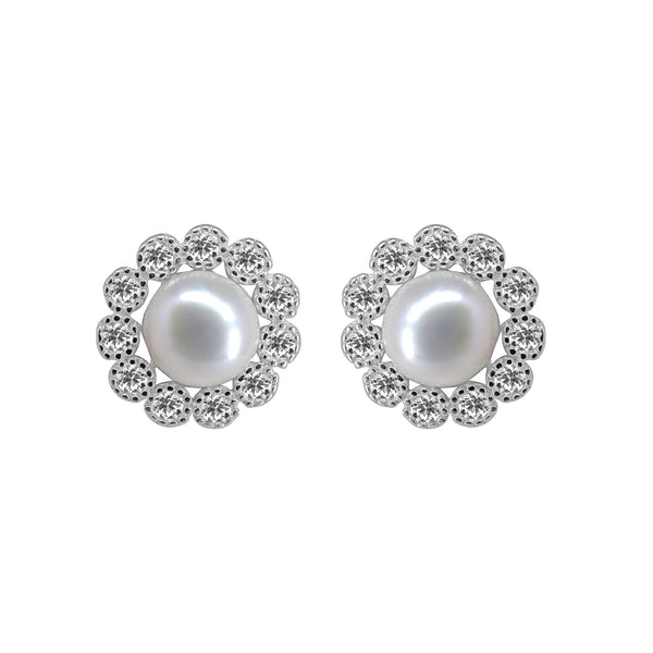 Button Pearl stud with CZ Stone - T4151