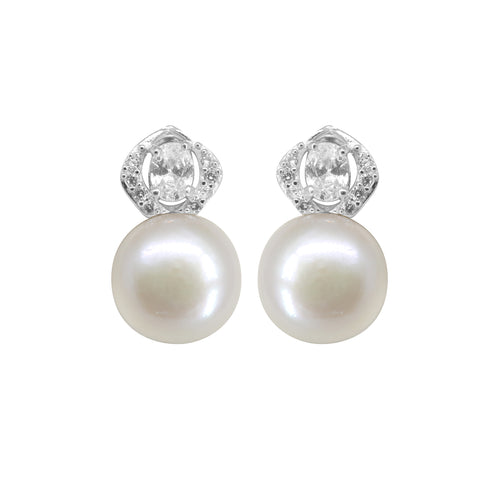 Button pearl is stud with CZ stone - T4158