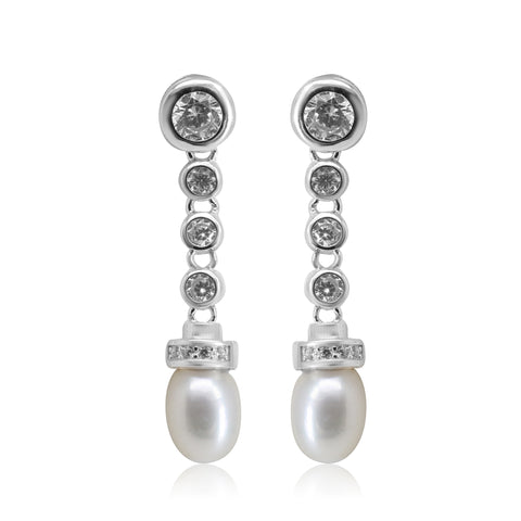 Pearl Hanging with CZ Stone and Pearl - T4136