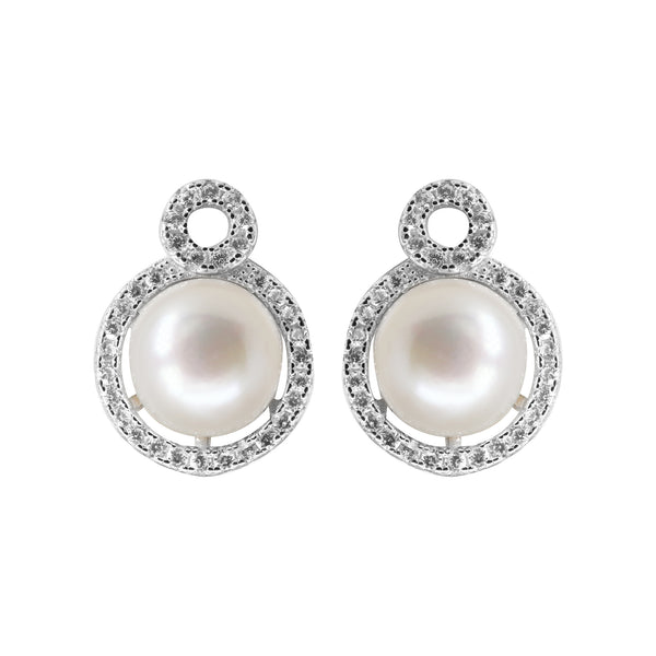 Button Pearl stud with CZ Stone - T4145