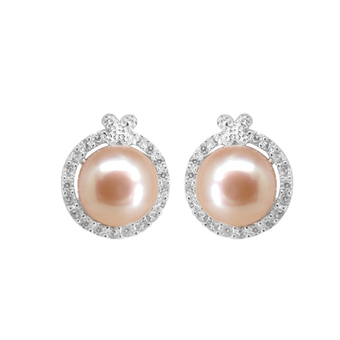 Pink pearl top stud with CZ Stone-T4223