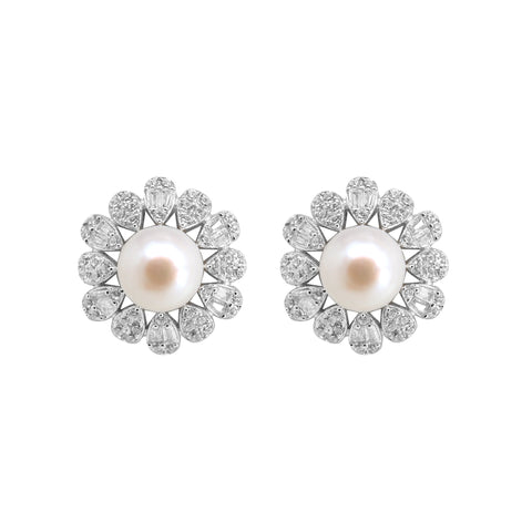 White pearl stud with CZ Stone - T4141