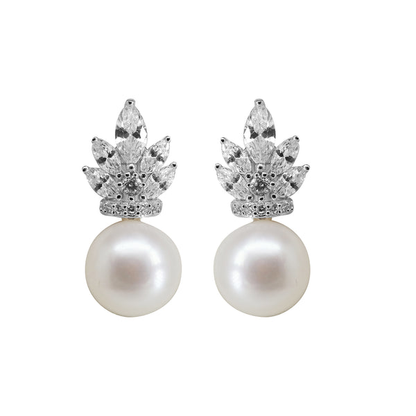 White pearl stud with CZ Stone - T4139