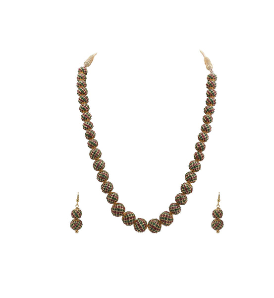 Ball Necklace Chain and Earrings Set - SH306 KrishnaPearlsandJewellers