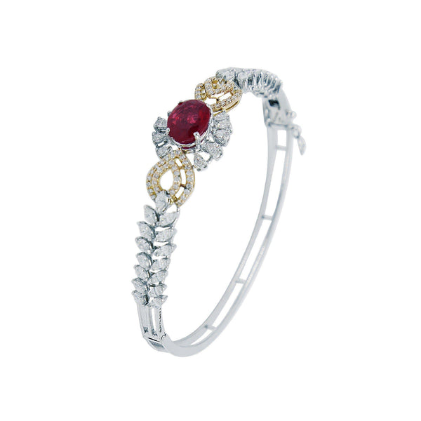 Bangle Type Diamonds Bracelet in White Gold with Ruby Stone-GBD0234 KrishnaPearlsandJewellers