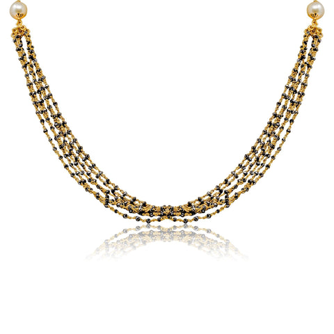 Black Beads Chain in Gold with Multi Rows -GCB0065 KrishnaPearlsandJewellers