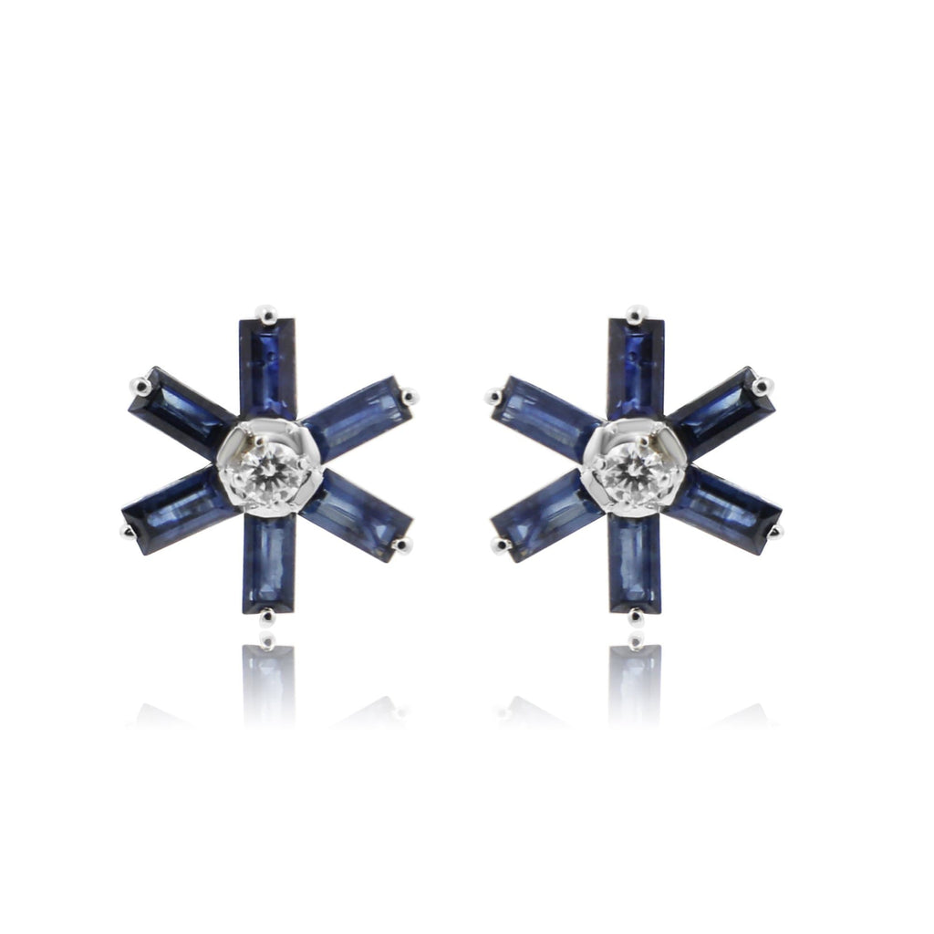 Blue Sapphire Earrings -GTBS204 KrishnaPearlsandJewellers