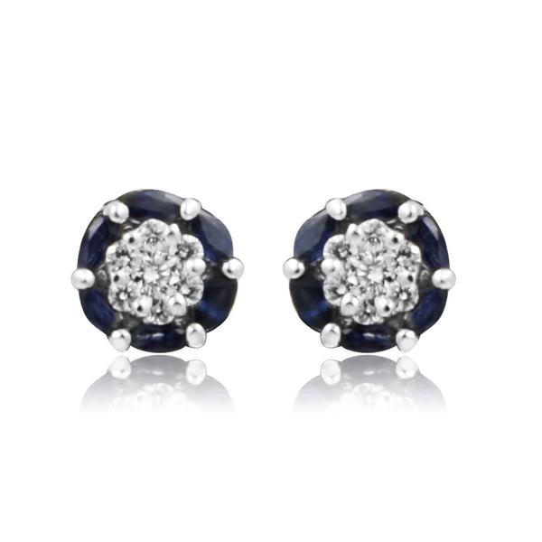 Blue Sapphire earrings -GTBS162 KrishnaPearlsandJewellers