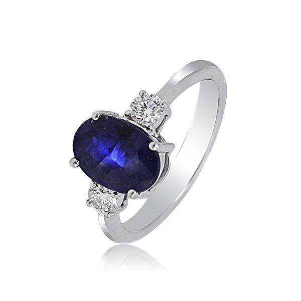 Blue Sapphire with Diamond ring-GRBS260 KrishnaPearlsandJewellers