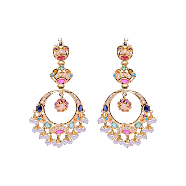 Chandbali -Multistone Earrings -GTPS975 KrishnaPearlsandJewellers