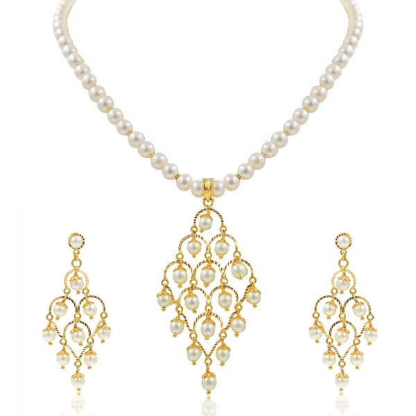 Chandelier Style Set in Gold Chain with Pearls -GSP0243 KrishnaPearlsandJewellers