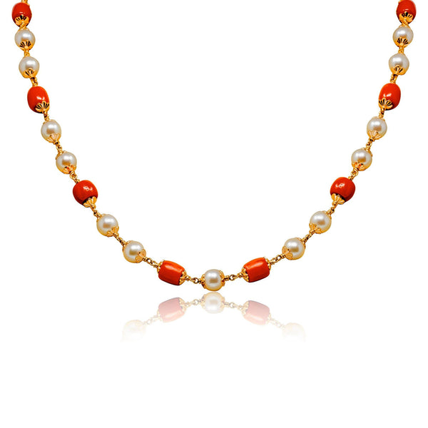 Coral Gold Chain with Pearls -GCCU048 KrishnaPearlsandJewellers