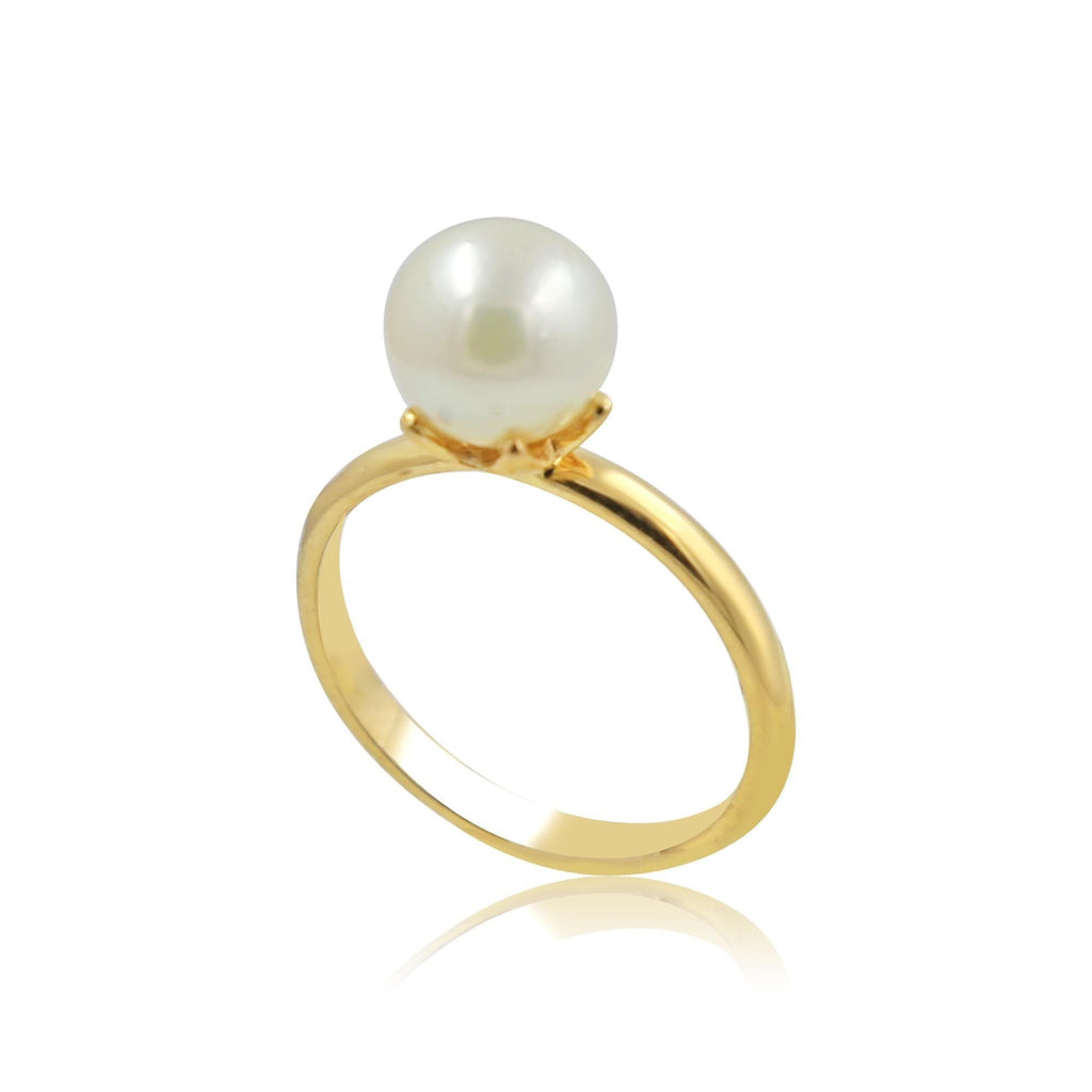 Cultured Pearl in Gold Ring-GRCU038 KrishnaPearlsandJewellers