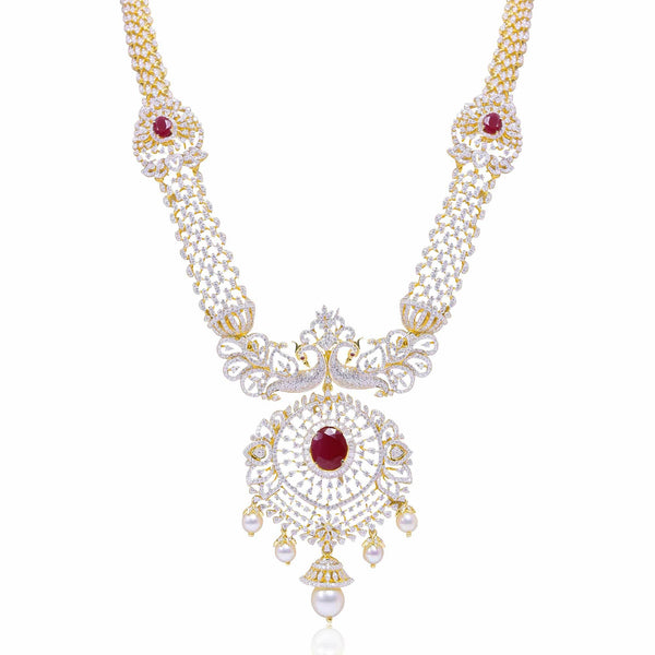 Diamond -Peacock Necklace -H17146 KrishnaPearlsandJewellers