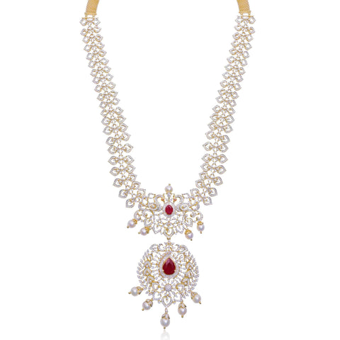 Diamond -Peacock Necklace -H17173. KrishnaPearlsandJewellers