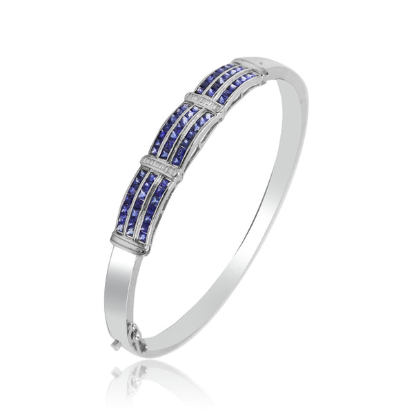 Diamond Bracelet with Blue sapphire Stone's in White Gold -GBBS069 KrishnaPearlsandJewellers