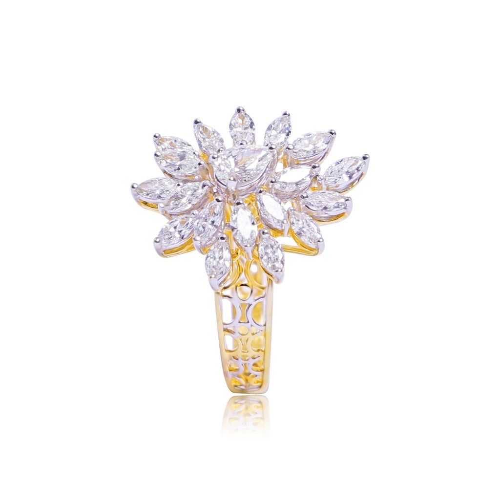 Diamond With Flower Shape In Gold Ring-GRD1566 KrishnaPearlsandJewellers