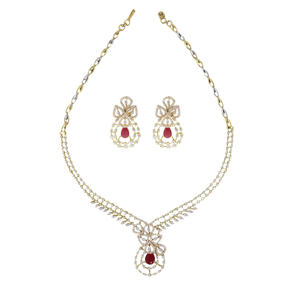 Diamond necklaces set-GSD0178 KrishnaPearlsandJewellers