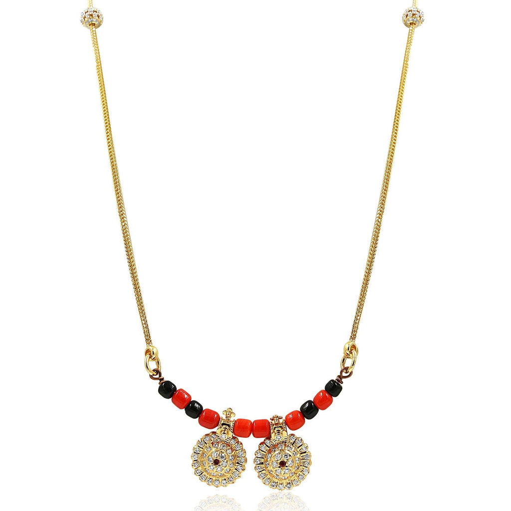 Diamond with Coral and Black Bead Pendant-GDD0587 KrishnaPearlsandJewellers
