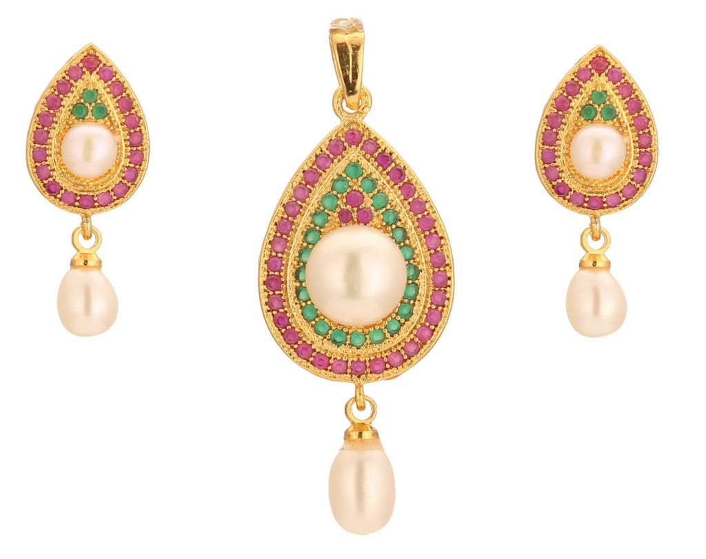Diya Style -Pearls -Pendant -Earrings -P0636 KrishnaPearlsandJewellers