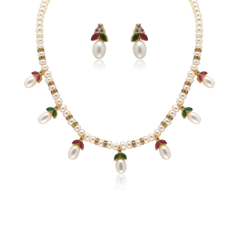 Drop Pearl Necklace Set- H1161 Krishna Pearls and Jewellers
