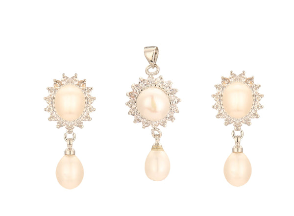 Drop Pearls -Pendant -Earrings -P0024 KrishnaPearlsandJewellers