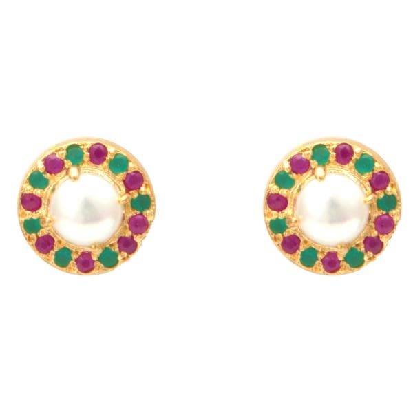 Earrings Studs in Pearl with Multi Color Stones-T4022 KrishnaPearlsandJewellers