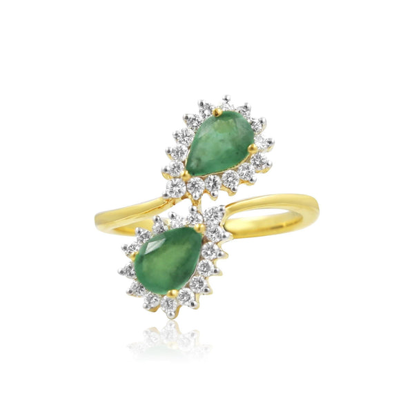 Emerald and Diamond in Gold Spiral Ring-GRE0177 KrishnaPearlsandJewellers