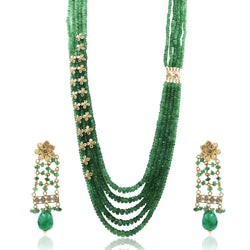 Emerald beads Gold Necklace Set-GSE0104 KrishnaPearlsandJewellers