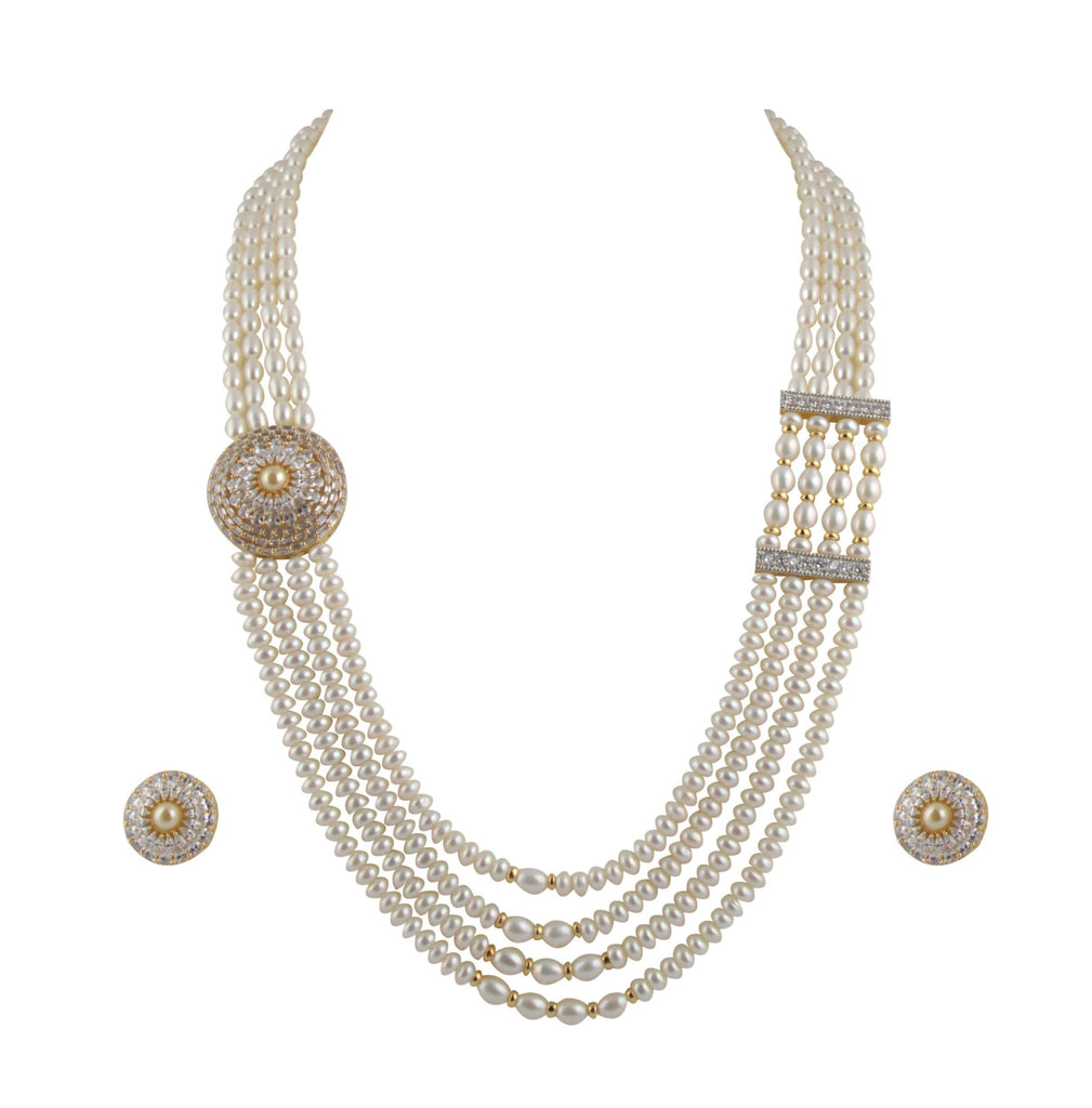 Four Line -Pearl -Chain -Earrings -H2804 KrishnaPearlsandJewellers