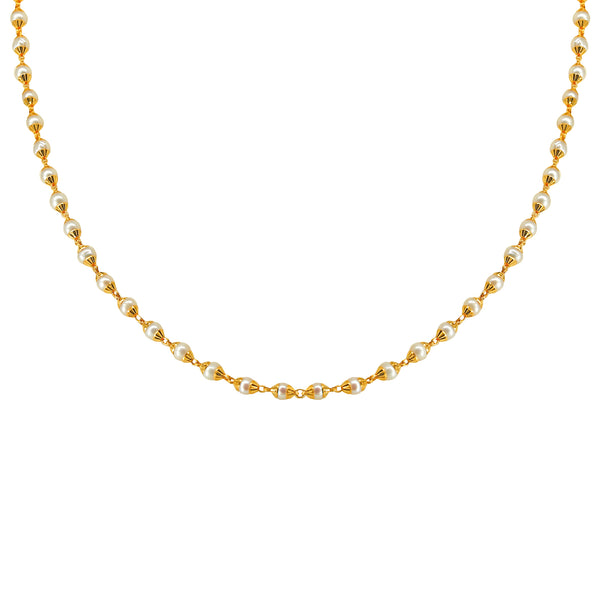 String Chain with Gold Caps & Pearls-GCP0258