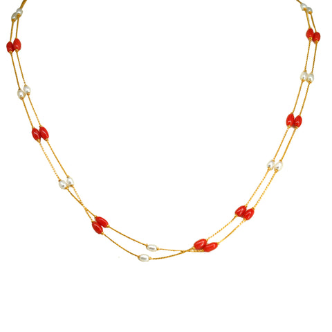 Pearl Gold Chain with Coral-GCPS900