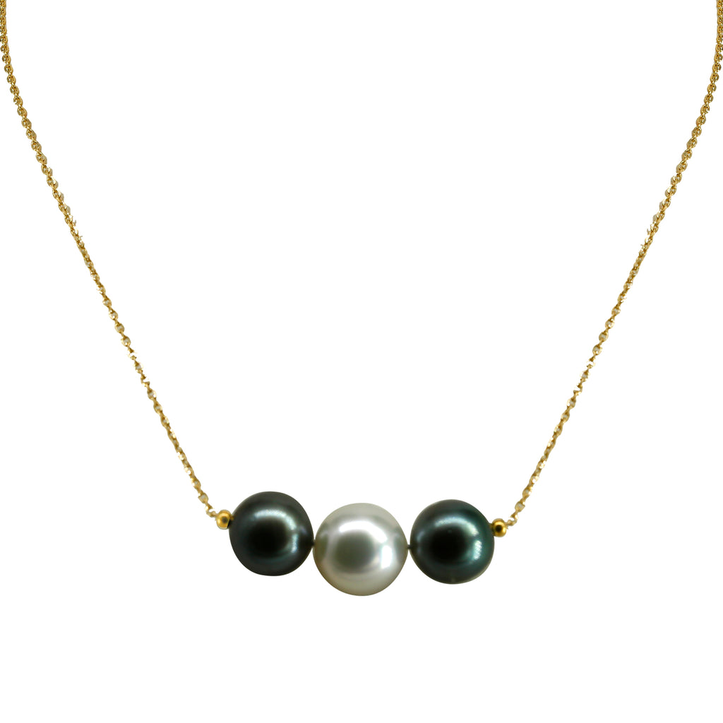 Gold Chain with Tahiti & South Sea pearl-GCSS370