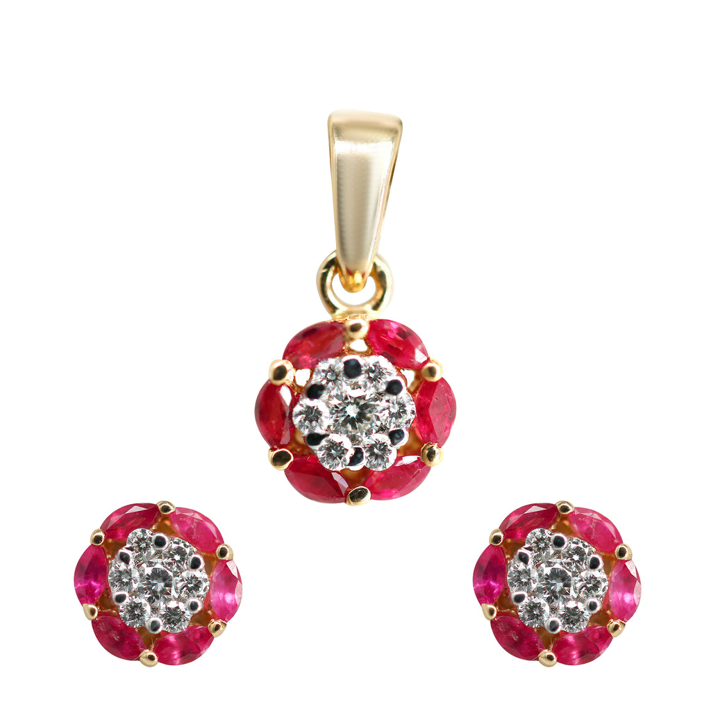 Ruby and Diamond Pendant With Earrings Set in Gold-GPR0158