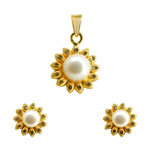 Shiny Natural Pearl Pendant With Earrings Set in Gold-GPWP204