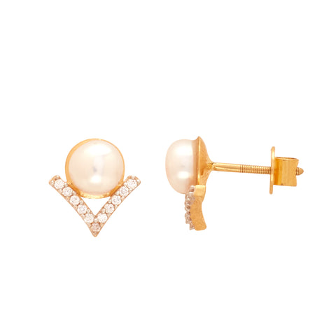 Gold Pearl and CZ Stone Stud-GTP2047