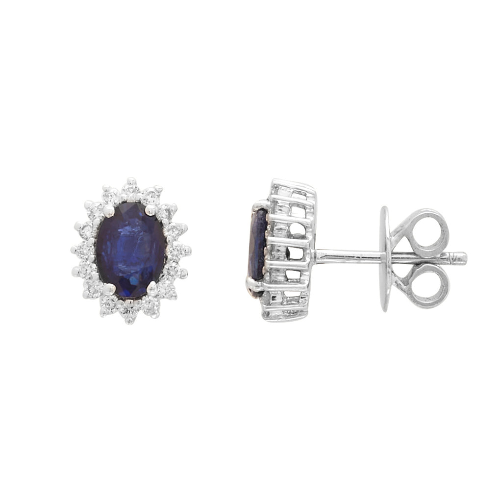 Gold with Diamond and Blue Sapphire Stude-GTBS318