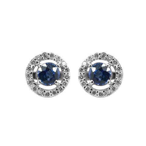 Blue Sapphire White gold Earrings -GTBS324