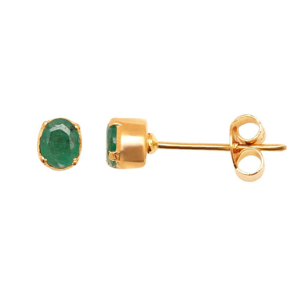 Gold Emerald Stud-GTE0011