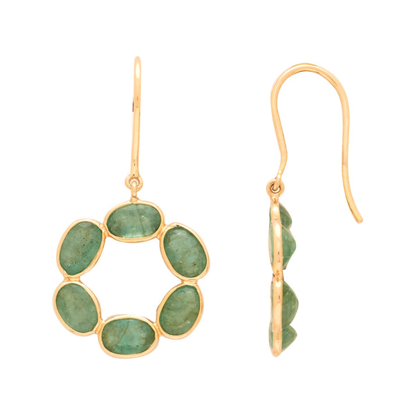 Gold Emerald Hanging Earring-GTE0620