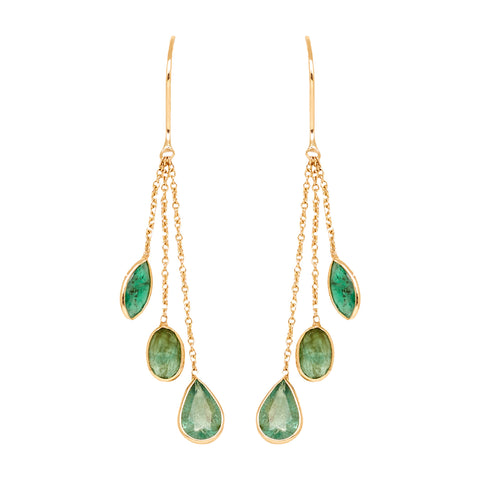Gold Emerald Hanging Earring-GTE0622