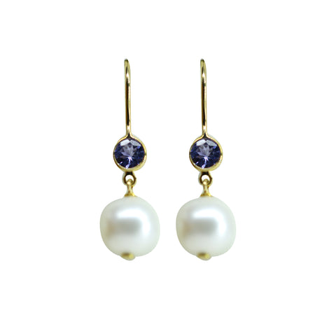 Gold Pearl and Blue Stone  Hanging-GTP2030