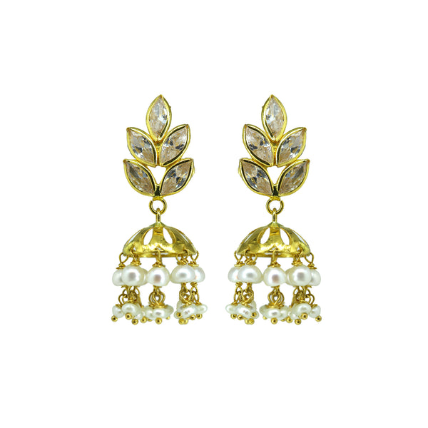 Gold Pearls Hanging Earrings -GTP2035