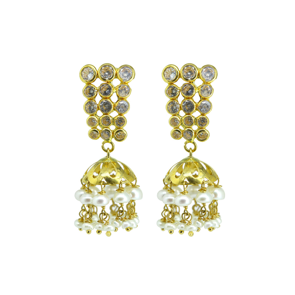 Gold Pearls Hanging Earrings -GTP2037
