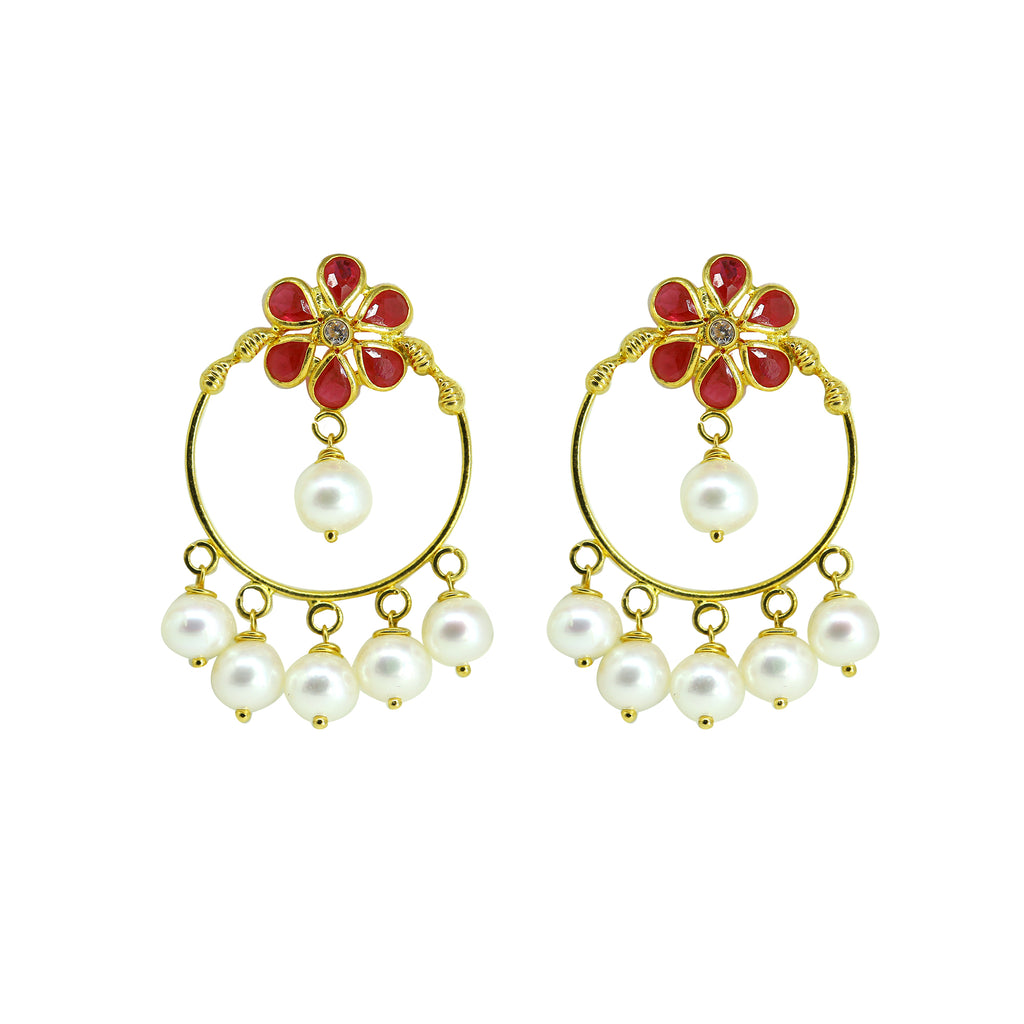 Gold Pearls Hanging Earrings -GTP2039